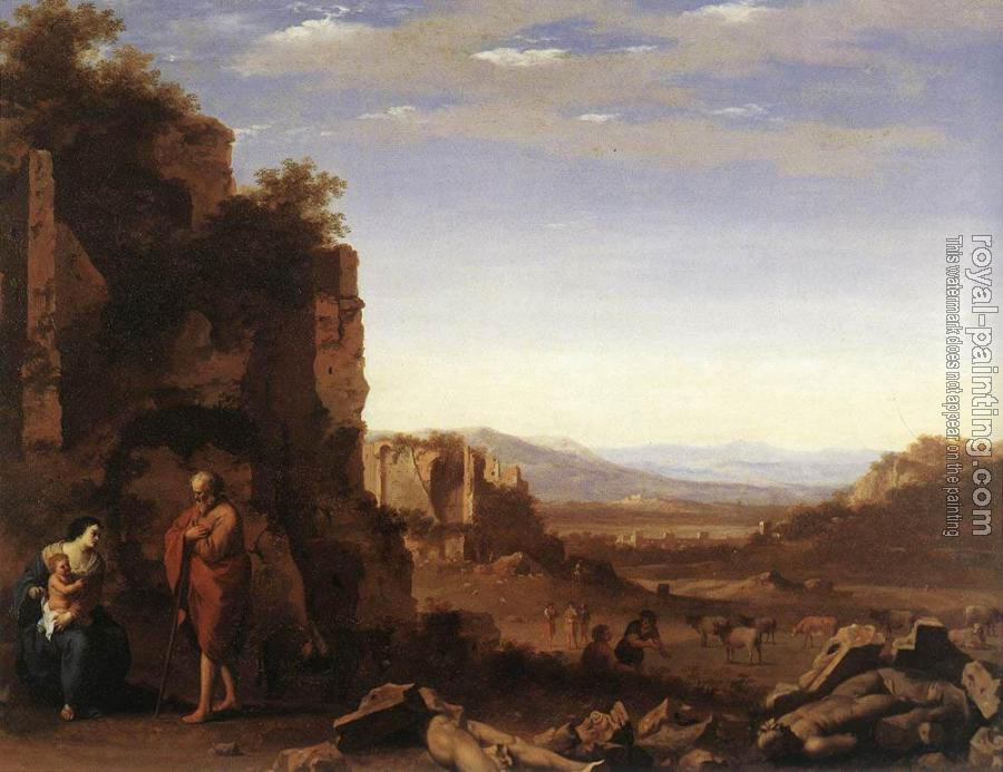 Cornelis Van Poelenburgh : Rest On The Flight Into Egypt