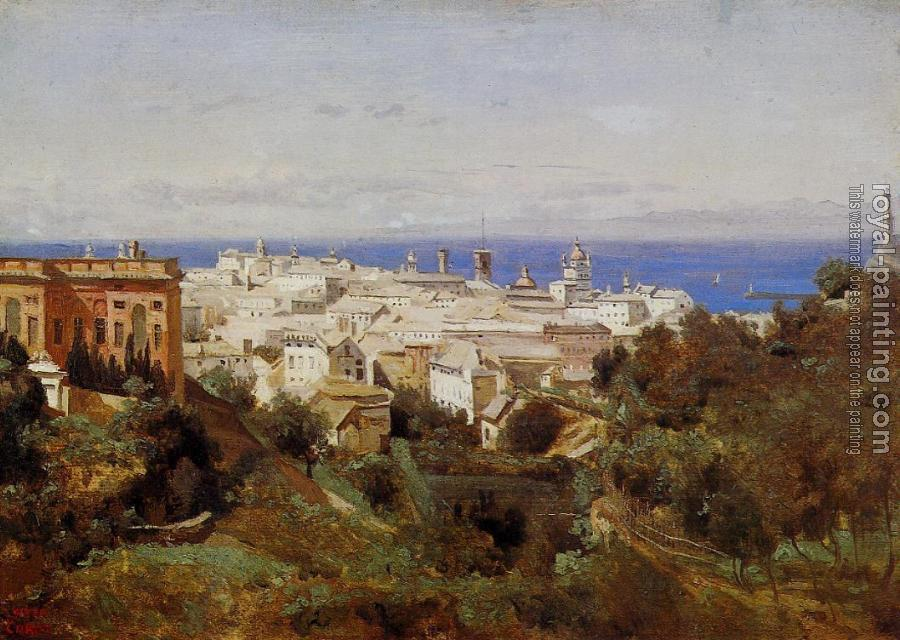 Jean-Baptiste-Camille Corot : View of Genoa from the Promenade of Acqua Sola