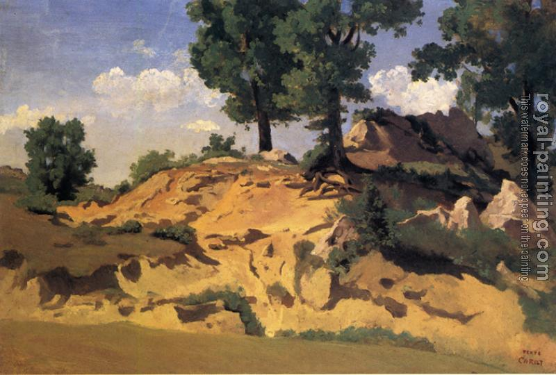 Jean-Baptiste-Camille Corot : Trees and Rocks at La Serpentara