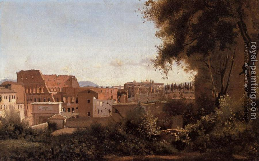 Jean-Baptiste-Camille Corot : Rome, View from the Farnese Gardens, Noon(Study of the Coliseum)