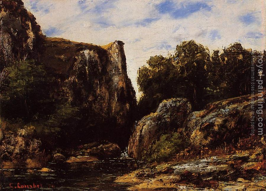 Gustave Courbet : A Waterfall in the Jura
