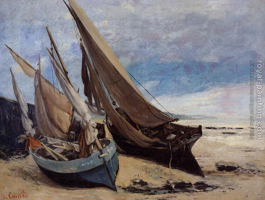 Gustave Courbet : Fishing Boats on the Deauville Beach