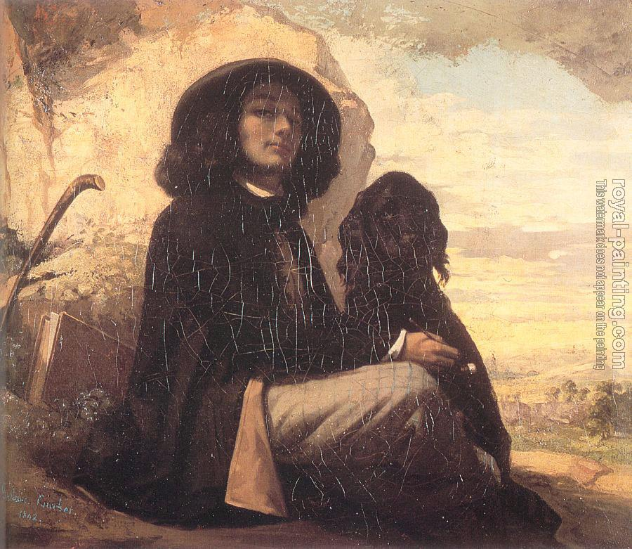Gustave Courbet : Self Portrait (Courbet with a Black Dog)