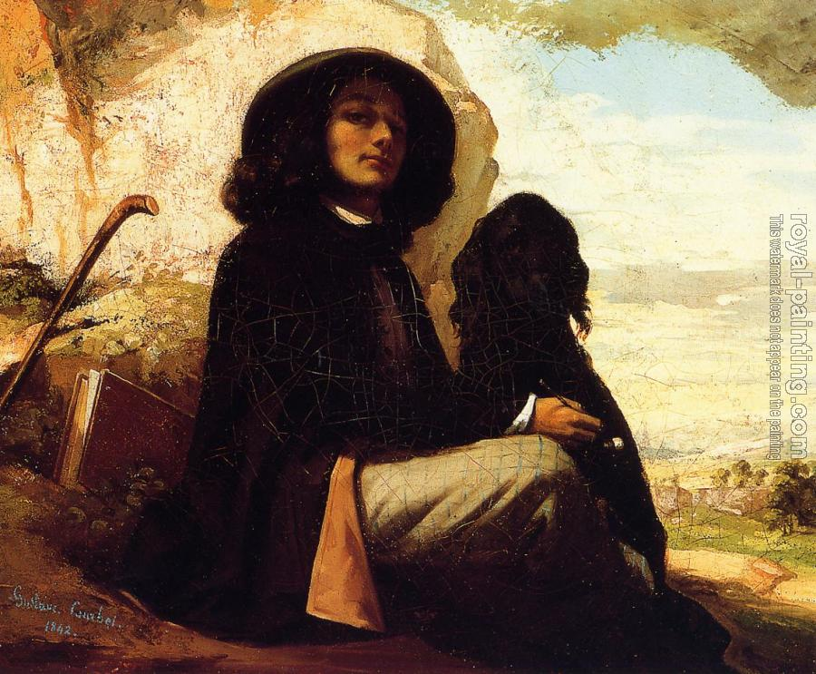 Gustave Courbet : Self Portrait with a Black Dog