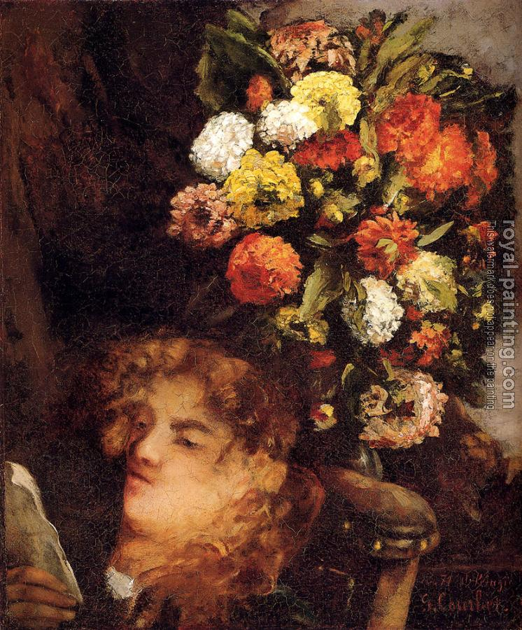 Gustave Courbet : Head Of A Woman With Flowers