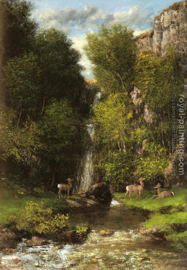Gustave Courbet : A Family of Deer in a Landscape with a Waterfall