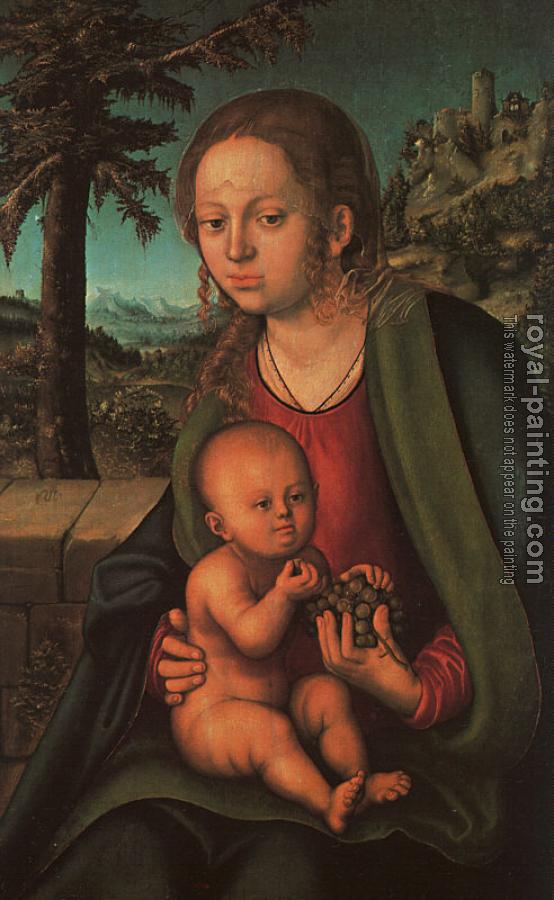 Lucas The Elder Cranach : Virgin and Child with a Bunch of Grapes
