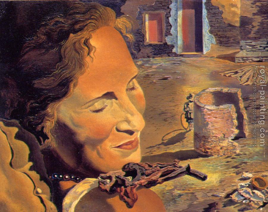 Salvador Dali : Portrait of Gala with Two Lamb Chops Balanced on Her Shoulder