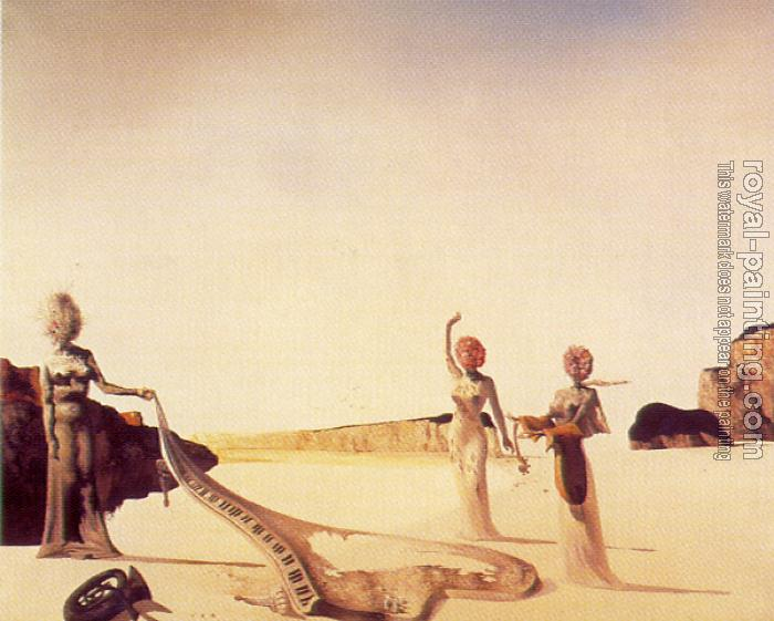 Salvador Dali : Therr Young Surrealist Women Holding in their Arms the Skins of an Orchestra
