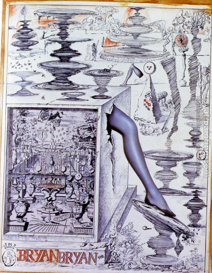 Salvador Dali : Leg Composition.Drawing from a series of advertisements for Bryans Hosiery