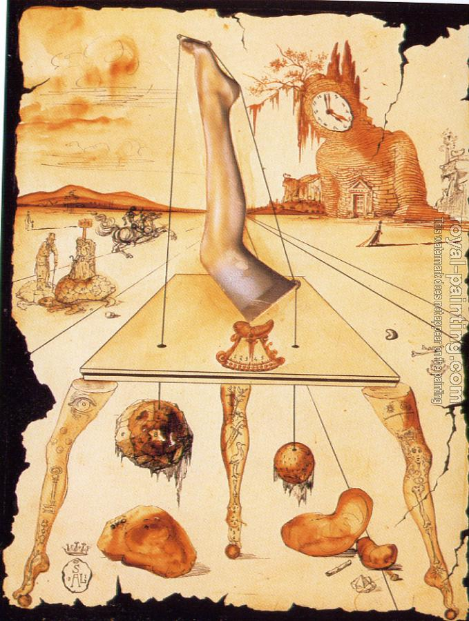Salvador Dali : Leg Composition.Drawing from a series of advertisements for Bryans Hosiery II