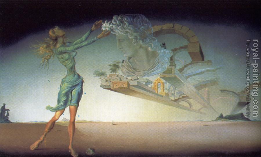 Salvador Dali : Desert Trilogy-Apparition of a woman and Suspended Architecture in the Desert.For Desert Flower perfume