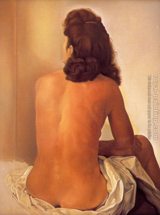 Salvador Dali : Gala Nude Seen from behind Watching an Invisible Mirror