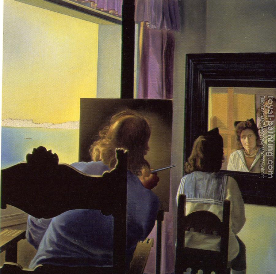 Salvador Dali : Dali from the Back Painting Gala from the Back Eternalized by Six Virtual Corneas Provisionally Reflected in Six Real Mirrors