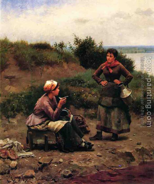 Daniel Ridgway Knight : A Discussion Between Two Young Ladies