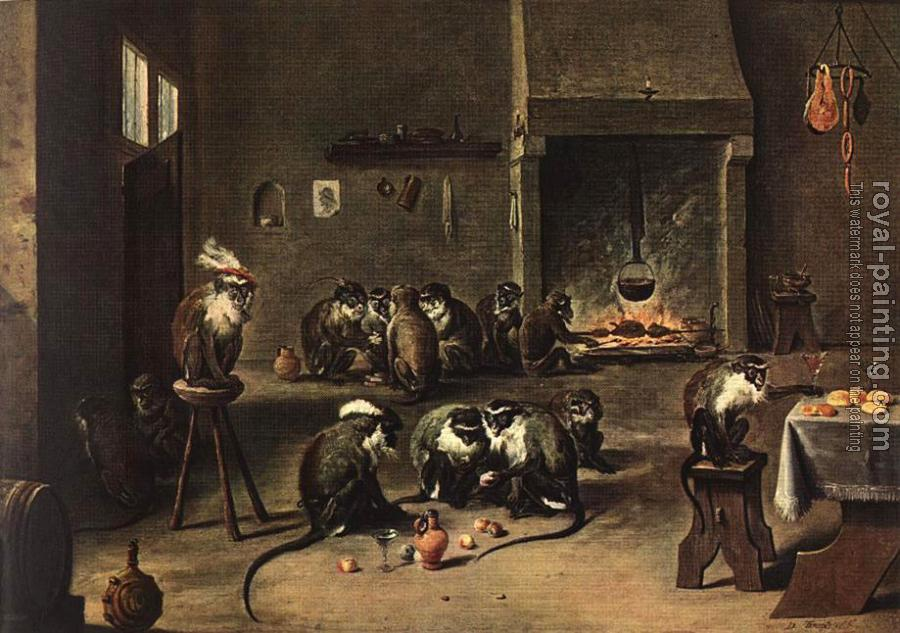 David Teniers The Younger : Apes in the Kitchen