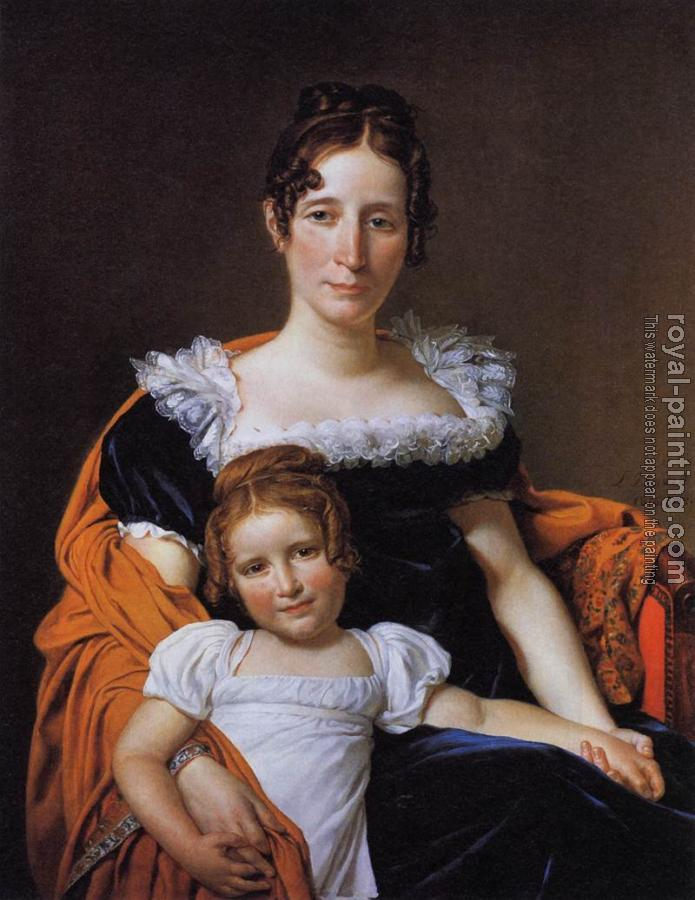 Jacques-Louis David : Portrait of the Comtesse Vilain XIIII and her Daughter