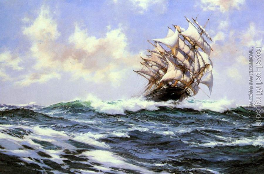 Montague Dawson : Sun-Flecked Foam