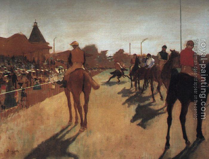 Edgar Degas : Racehorses in Front of the Grandstand
