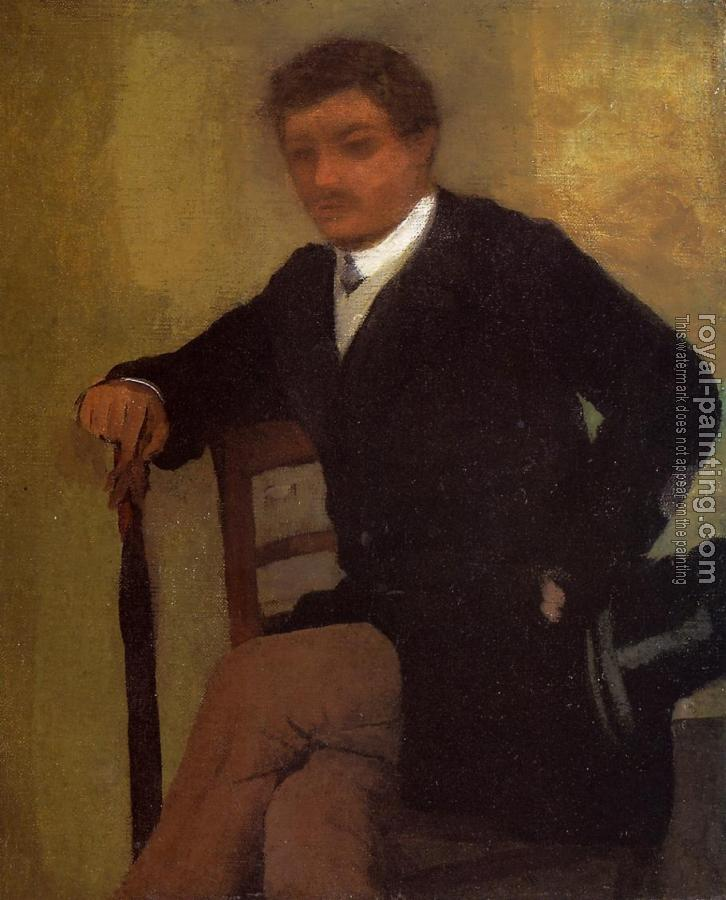 Edgar Degas : Seated Young Man in a Jacket with an Umbrella