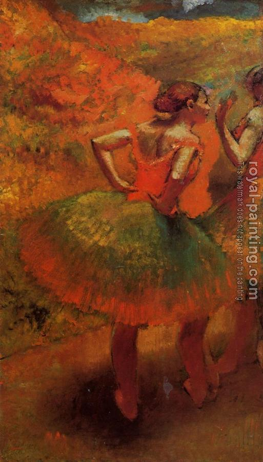 Edgar Degas : Two Dancers in Green Skirts, Landscape Scenery