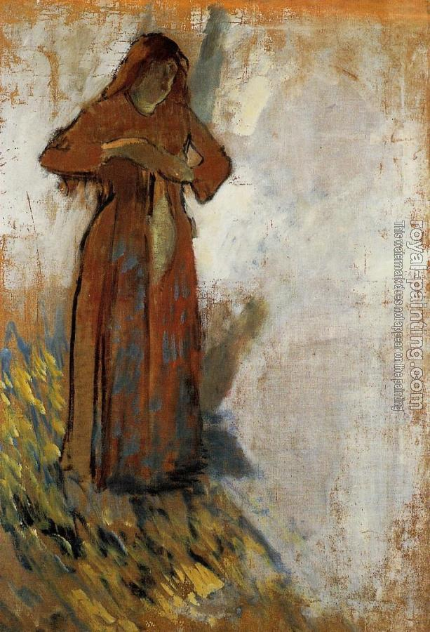 Edgar Degas : Woman with Loose Red Hair