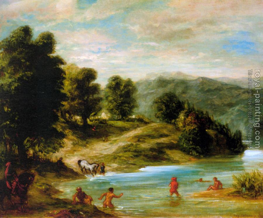 Eugene Delacroix : The Banks of the River Sebou