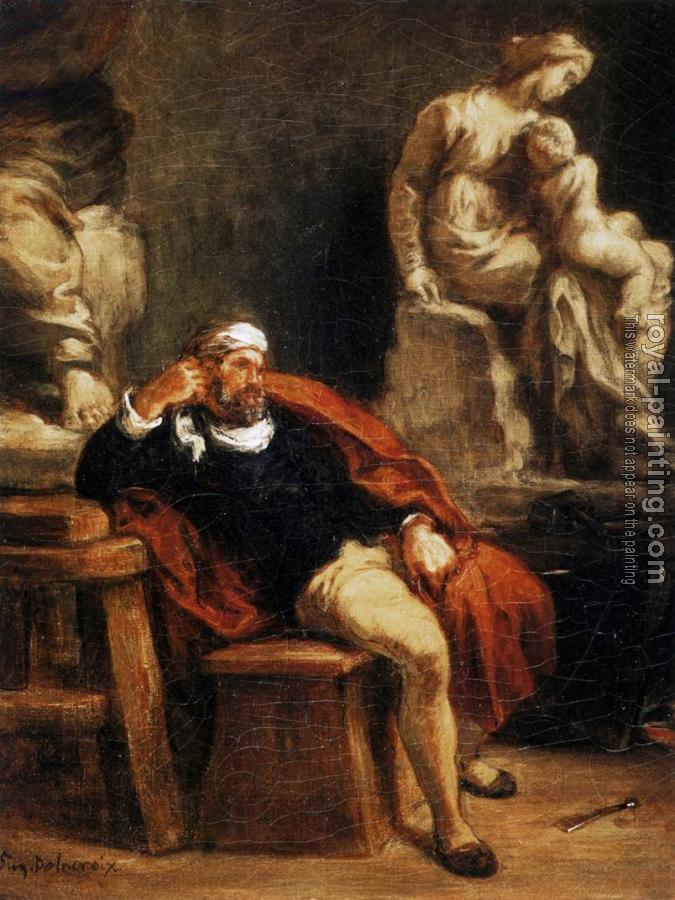 Eugene Delacroix : Michelangelo in his Studio
