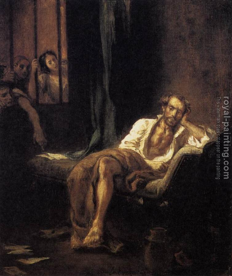 Eugene Delacroix : Tasso in the Madhouse