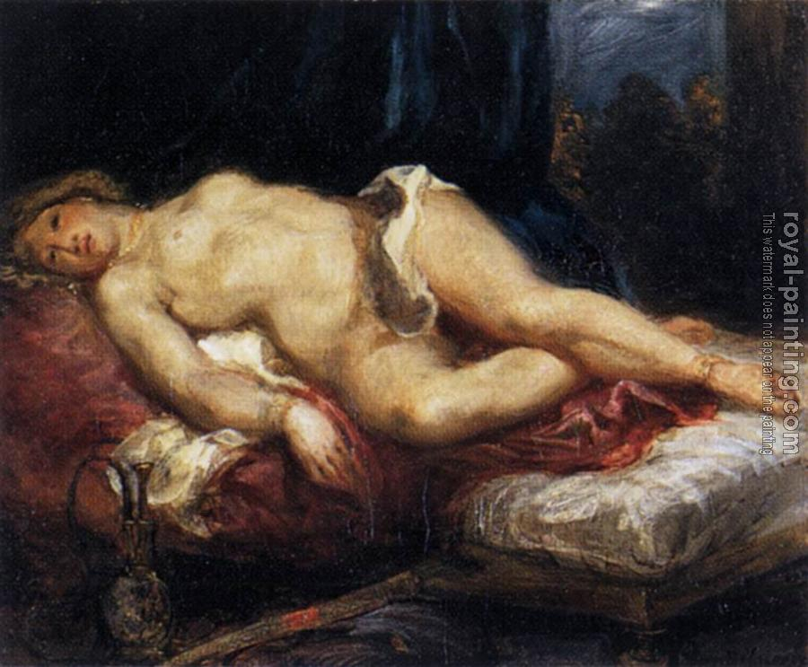 Eugene Delacroix : Odalisque Reclining on a Divan