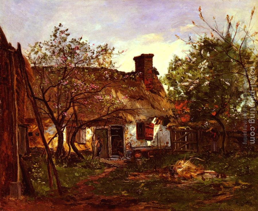 Hippolyte Camille Delpy : Thatched Cottage in Berneval
