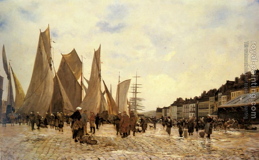 Hippolyte Camille Delpy : The Docks at Dieppe
