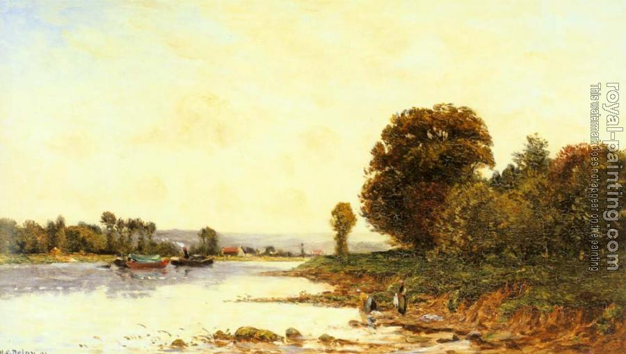 Hippolyte Camille Delpy : Washerwomen in a River Landscape with Steamboats beyond