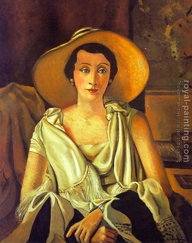 Andre Derain : Portrait of Madame Paul Guillaume with a large hat