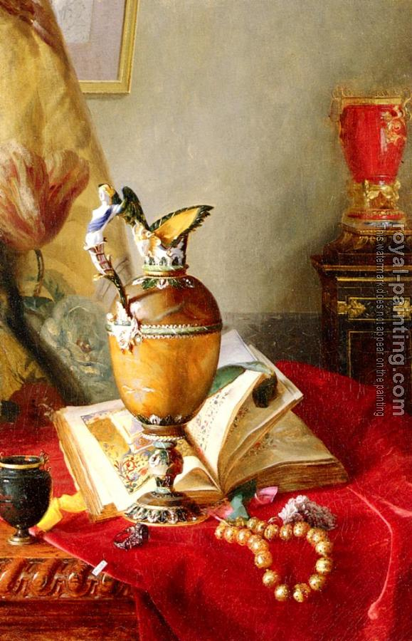 Blaise Alexandre Desgoffe : Still Life with Urns And Illuminated Manuscript On A Draped