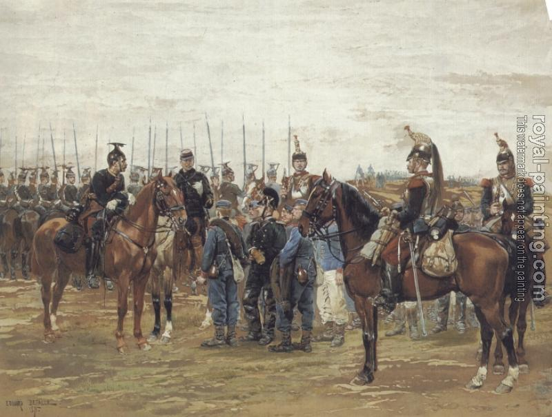 Edouard Detaille : A French Cavalry Officer Guarding Captured Bavarian Soldiers