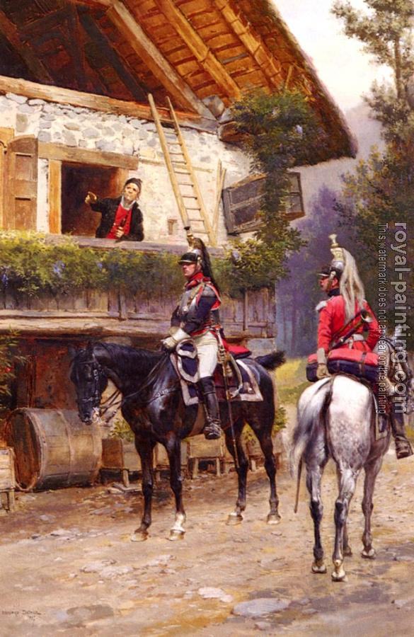 Edouard Detaille : Mounted First-Empire Dragoons In Front Of A Country House