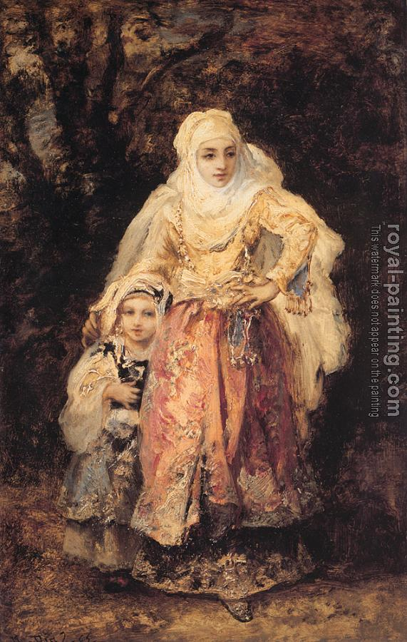 Narcisse-Virgile Diaz De La Pena : Oriental Woman and Her Daughter