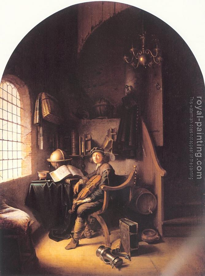 Gerrit Dou : An Interior with Young Violinist