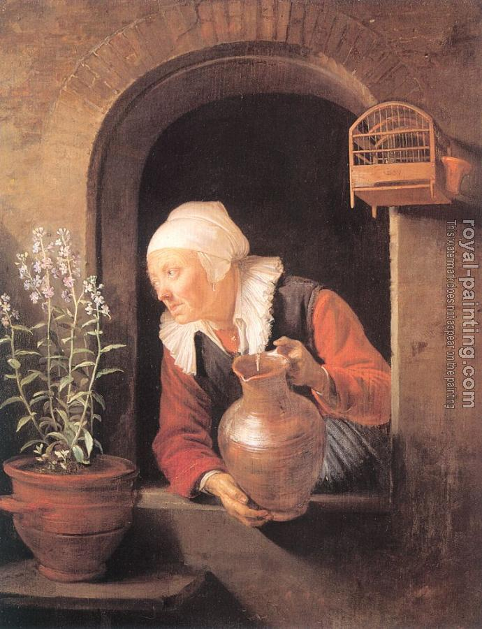Gerrit Dou : Old Woman with Jug at a Window