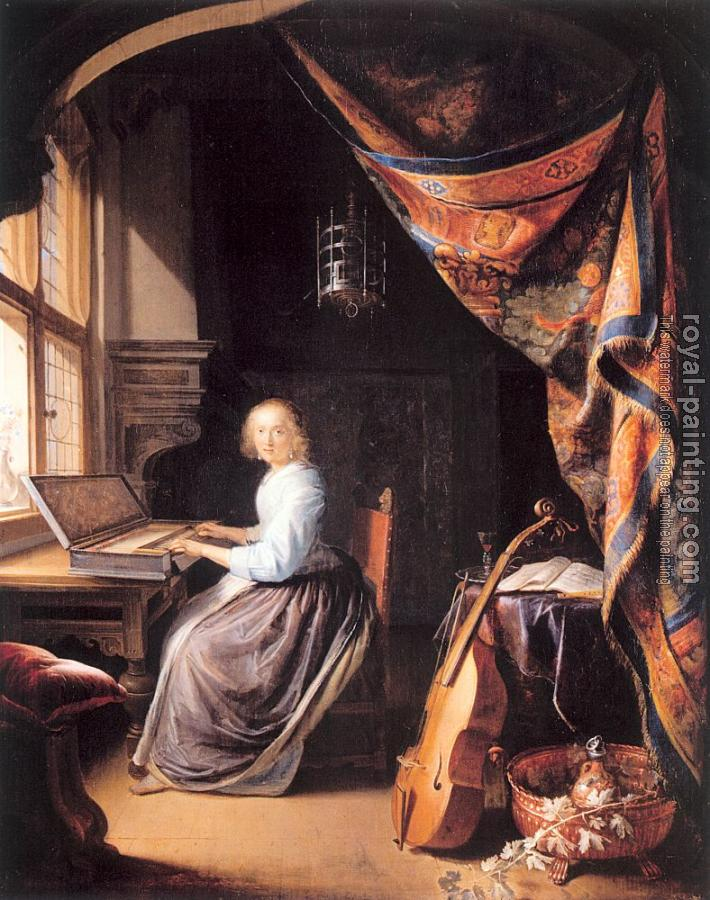 Gerrit Dou : A Woman Playing A Clavichord