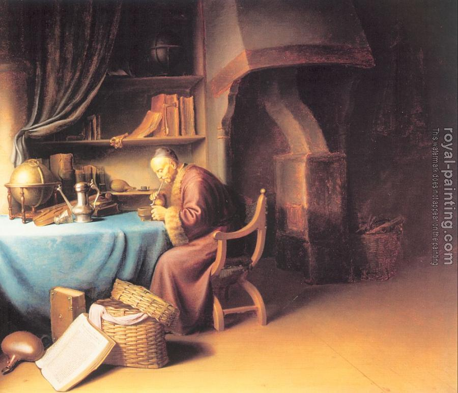 Gerrit Dou : Old Man Lighting a Pipe