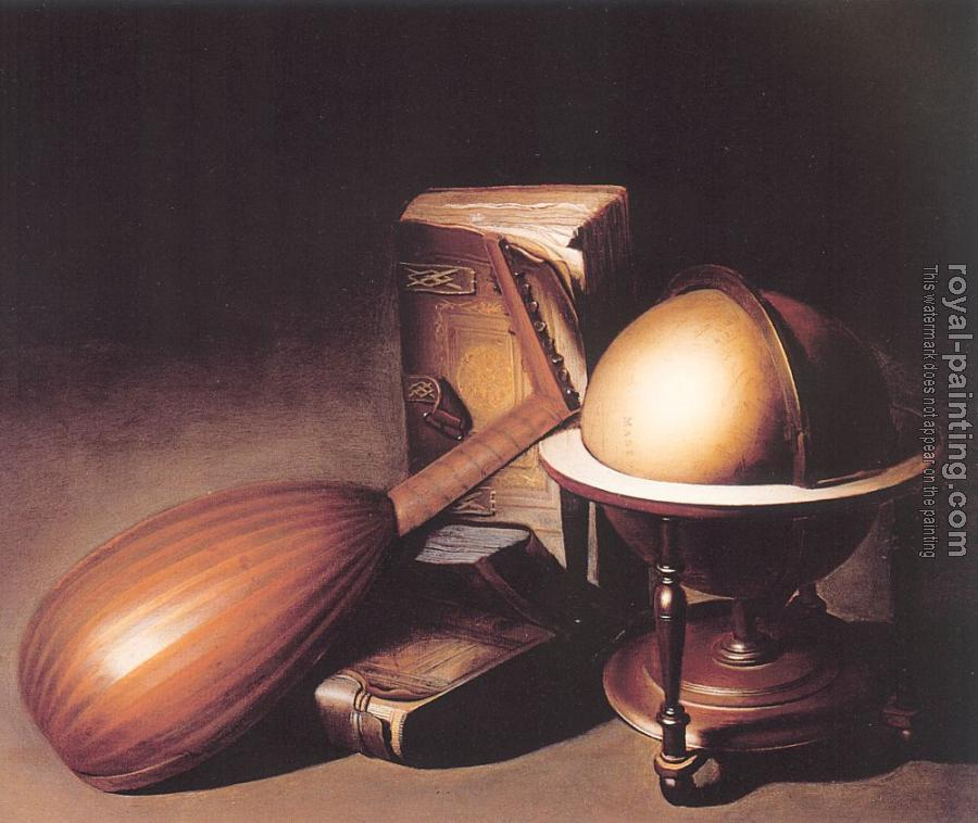 Gerrit Dou : Still Life with Globe, Lute, and Books