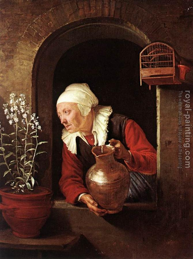 Gerrit Dou : Old Woman Watering Flowers