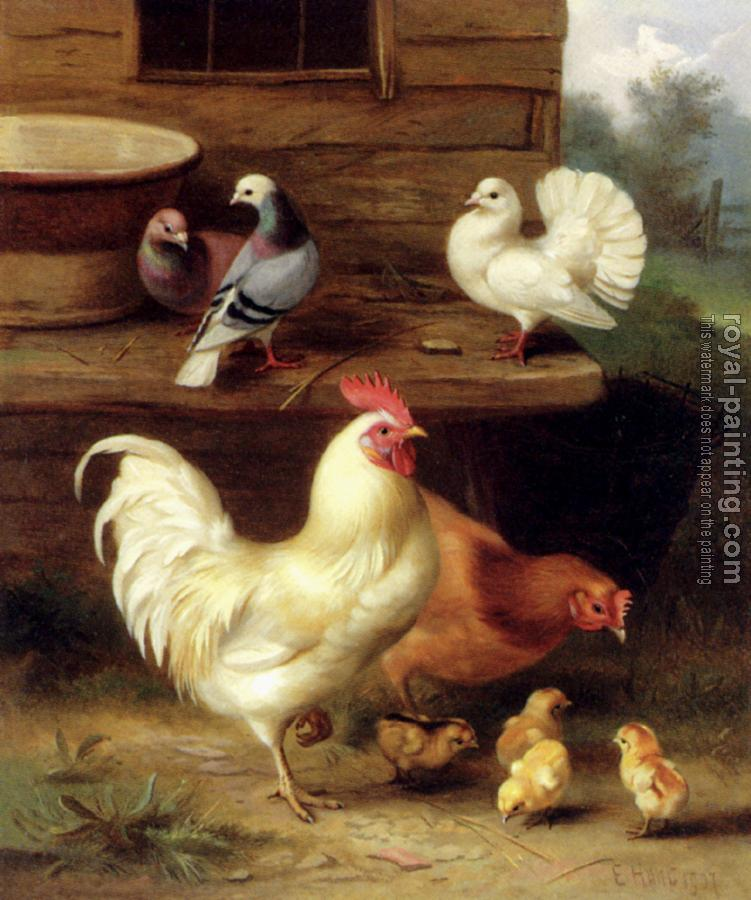 Edgar Hunt : A Cockerel Hen And Chicks With Pigeons