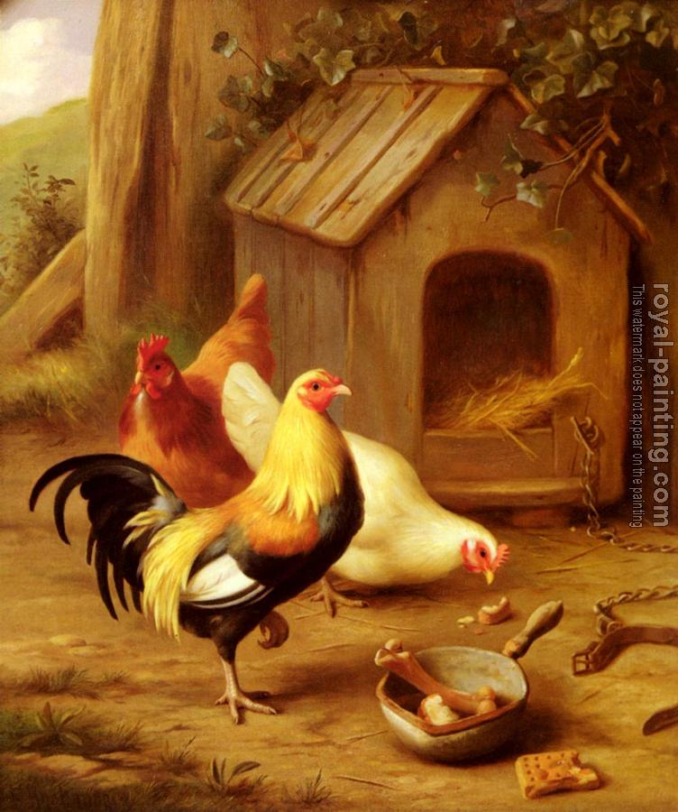 Edgar Hunt : Chickens Feeding