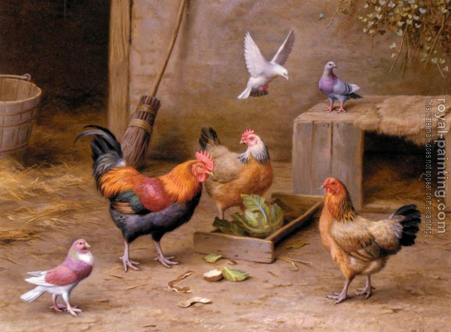Edgar Hunt : Chickens In A Farmyard