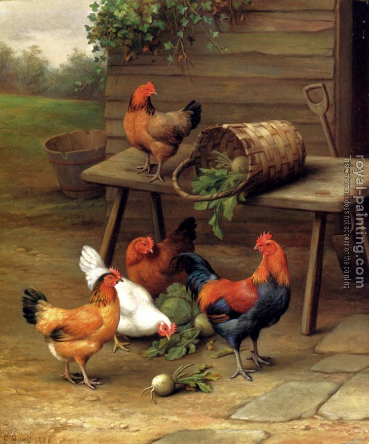 Edgar Hunt : Poultry In A Barnyard