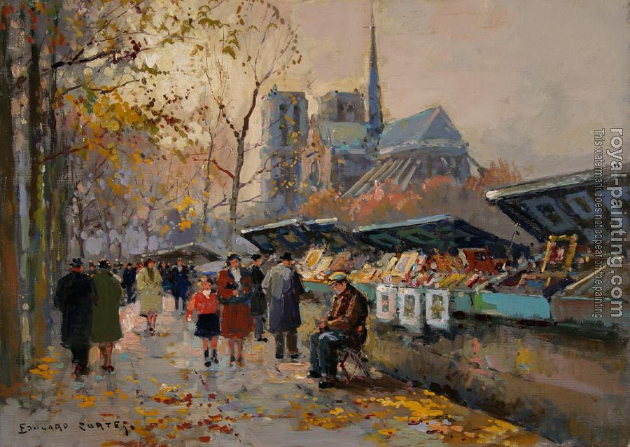Edouard Cortes : Book Sellers Along the Seine