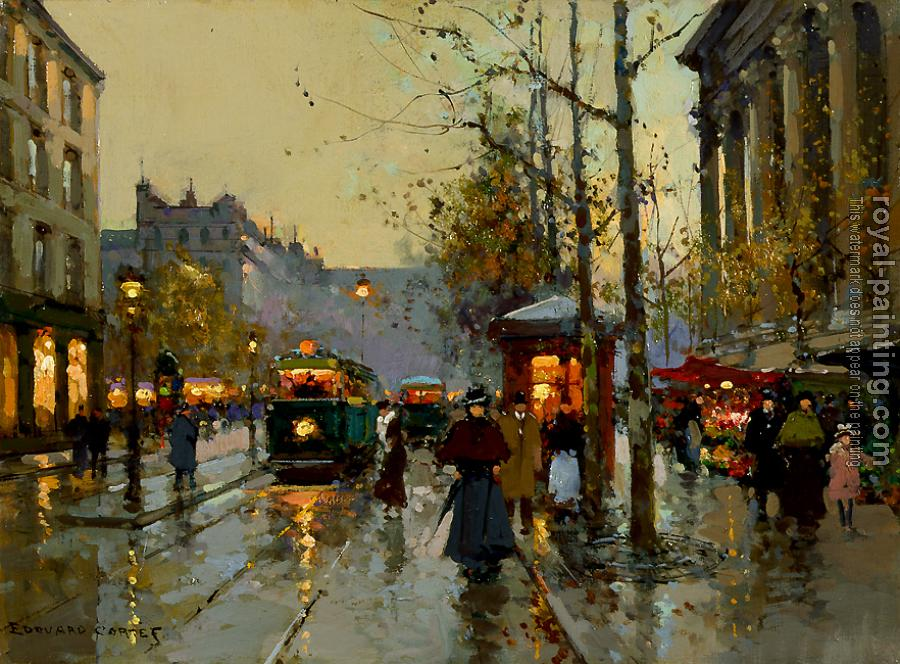 Edouard Cortes : Flower Market at the Madeleine